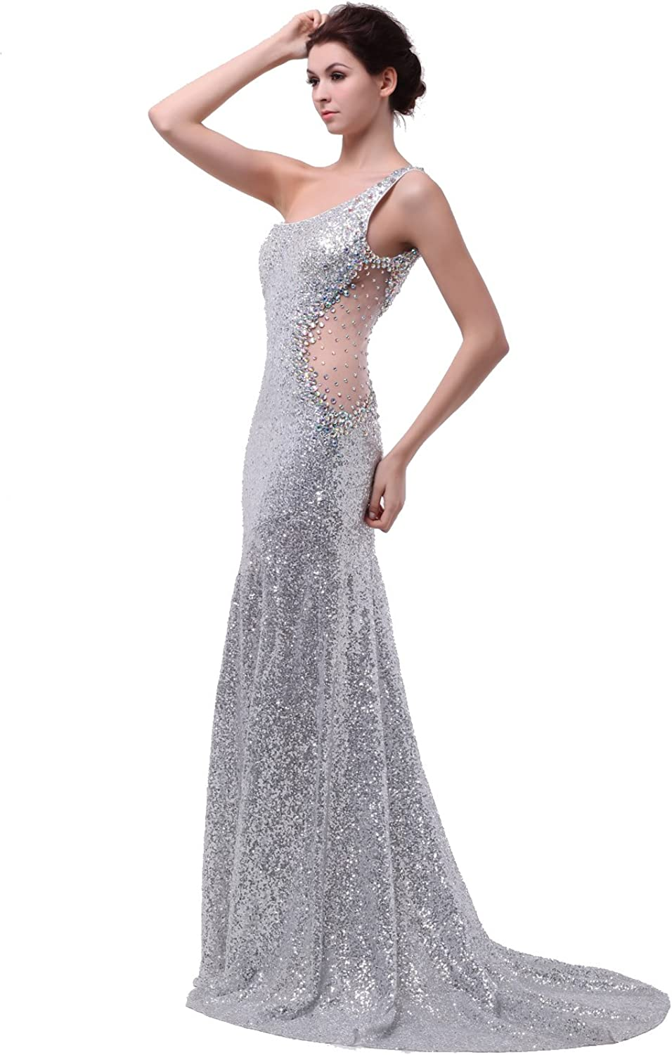 Honey Qiao Sequins One Shoulder Prom Dresses Beading Silver Evening Gowns (US8)