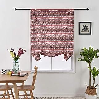 Oriental Furniture Cotton Roman Shades 36 in. x 72 in. Red