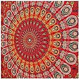 Jaipur Handloom Red Tapestry Wall Hanging Peacock Mandala Tapestries Indian Cotton Bedspread Picnic Bedsheet Blanket Wall Art Hippie Tapestry