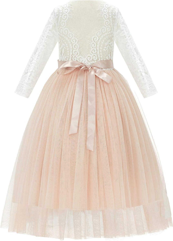 ekidsbridal Scalloped Lace Back Junior Flower Girl Dresses Formal Wedding Reception