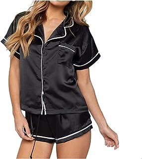 ZJMIYJ Dam Pyjamas, svart sexig pyjamas kvinnor set 2 st kortärmad topp + shorts satin silke pyjamas set söt nattkläder kv...