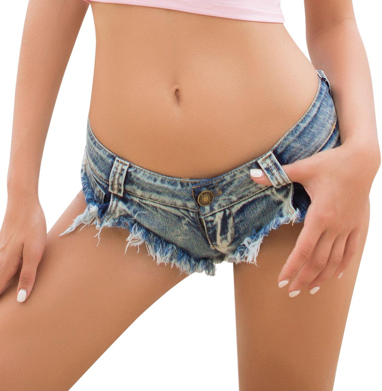 Misscat Women Denim Mini Shorts Tassel Ripped Distressed Lingerie Sexy Jeans