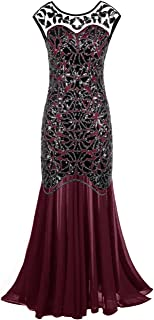 Women 's 1920s Black Sequin Gatsby Maxi Long Evening Prom...