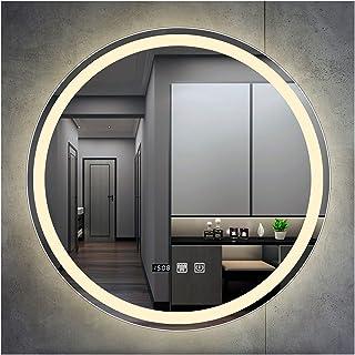 SAKLHDOQ LED Miroir de Salle de Bain Diamètre de 50/60/70/80cm HD Miroir Mural pour Salle de Bain ou Chambre, avec Eclaira...
