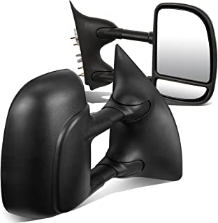 For Ford Super Duty Pair of Black Textured Telescoping Manual Extenable Side Towing Mirrors