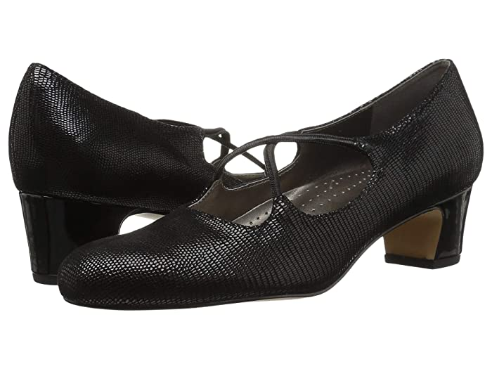 1960s Shoes: 8 Popular Shoe Styles Trotters Jamie Black Lizard Womens 1-2 inch heel Shoes $44.98 AT vintagedancer.com