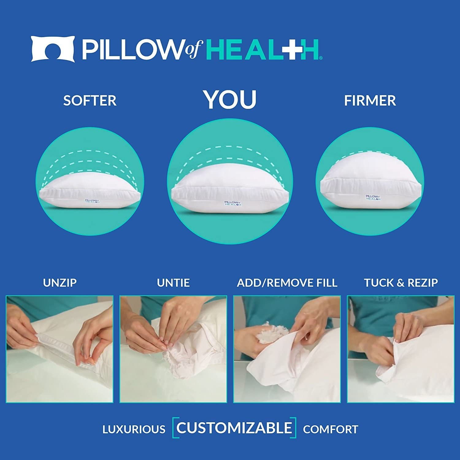 Medical Grade Pressure Relief Pillow of Health Chiro Elite Adjustable Pillow Hypoallergenic Customizable Firmness Antimicrobial Twin Size 20 x 26 Cooling Wickable Cover
