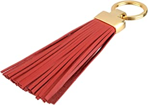 Leather Tassel Keychain Fob Vaket Split Key Ring Bag Charms (Red-Gold)