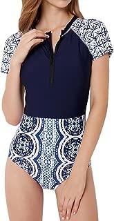 Women Zip Front Floral Print Half Sleeve One Piece Swimsuit Rash Guard Swimwear