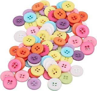 Botões de resina, botões coloridos de uso fácil Aplicação ampla 4 furos Resina ecologicamente correta para costura de roup...