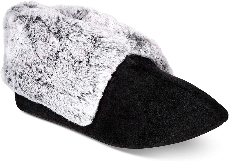 Charter Club Women's Plush Faux-Fur Ankles Memory foam Booties Slipper, Black, S (5-6)