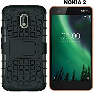AVICA® Shockproof Hybrid Kickstand Back Case Defender Cover for Nokia 2 - Black