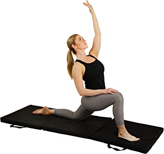 Sunny Health & Fitness Folding Gymnastics Tumbling Mat - Extra Thick with Carry Handles - for Exercise, Yoga, Fitness, Aer...