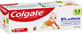 Colgate Kids Toothpaste 0-3 Years Mild Fruit Flavour Anticavity Fluoride Toddler Toothpaste No Artificial Flavours Preservatives Sweetners or Colours 80g