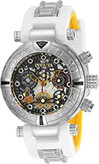 Invicta Women's Disney Limited Edition Stainless Steel Quartz Watch with Silicone Strap, White, 20 (Model: 24519)