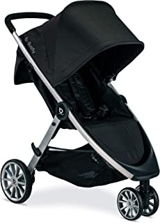 Britax B-Lively Lightweight Stroller, RavenOne Hand, Easy Fold + Infinite Recline + Front Access Storage + Peekaboo Window