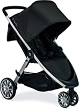 Britax B-Lively Lightweight Stroller | One Hand, Easy Fold + Infinite Recline + Front Access Storage + Peekaboo Window, Raven