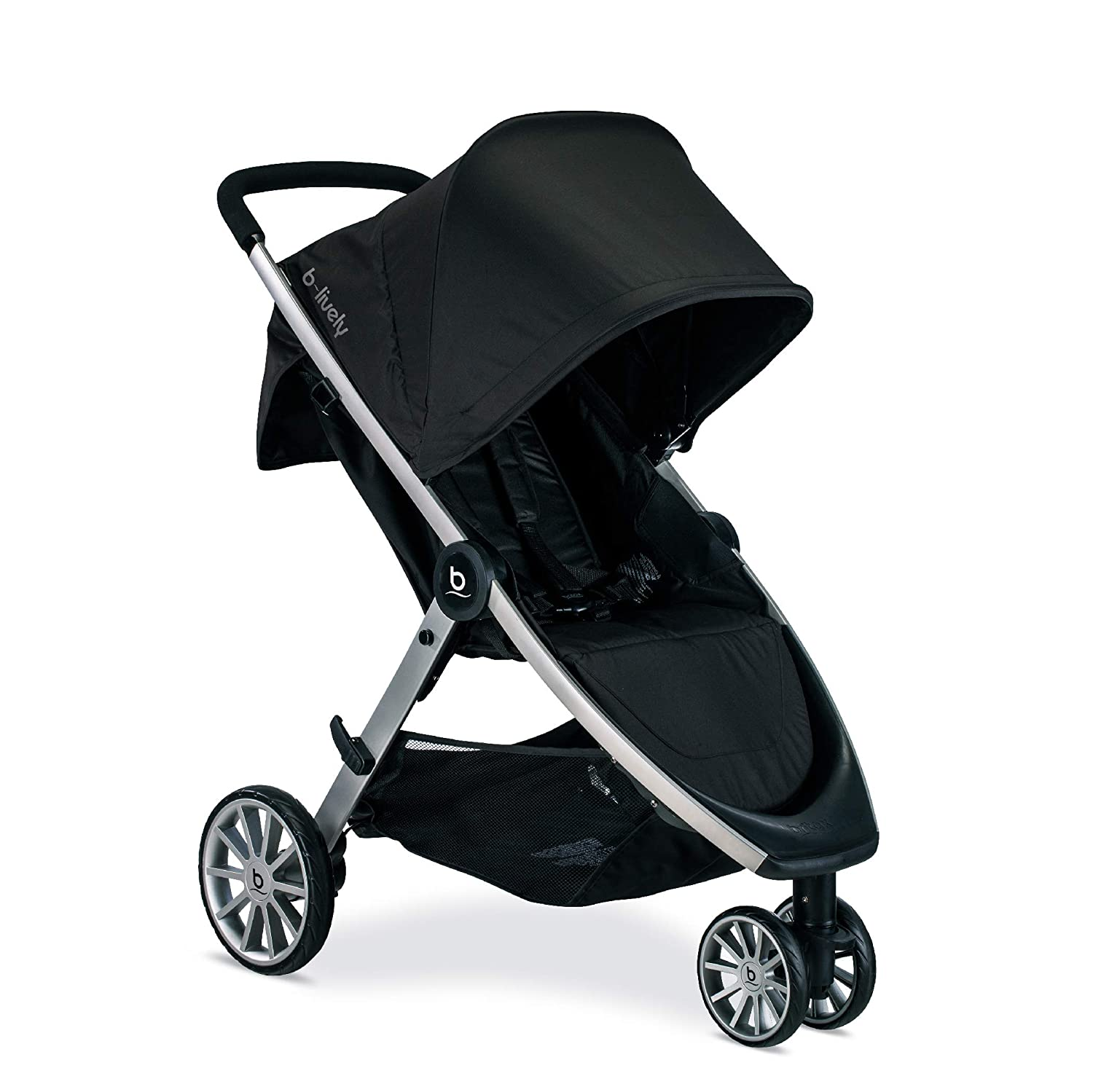 Britax B-Lively Lightweight Stroller, Raven - One Hand Fold, Large UV50+ Canopy, All Wheel Suspension