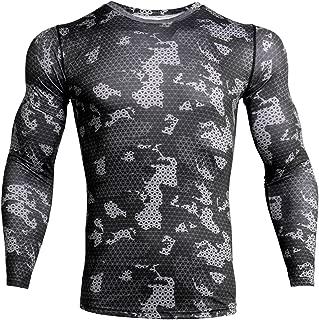 Men's Camo Compression Shirt Cool Dry Long Sleeve Baselayer T-Shirt for Men