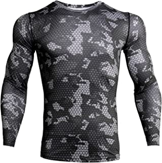 ZHPUAT Men's Camo Compression Shirt Cool Dry Long Sleeve Baselayer T-Shirt for Men Grey Grid L