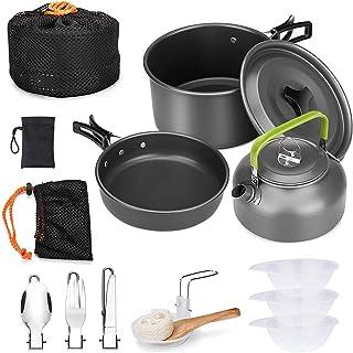 Amdohai キャンプ クッカー アウトドア 食器 アルミクッカー セット キャンプ フライパン 調理器具 キャンプ ケトル 登山 用品 アルミ 鍋 2–3人に適応 収納袋付き