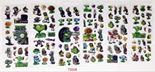 Sticker Lot / 3d Children Cartoon Early Learning Bubble Stickers/Funny Stickers (Plants vs Zombies-6pcs)