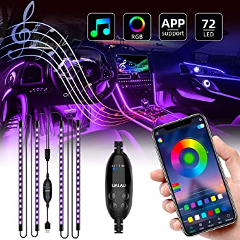 UALAU Interior Car Lights, 72 LED USB Car LED Lights APP Controller Party Light Bar Sync to Music, Multi DIY Color Under Dash Lighting Kits Car Accessories for Jeep Truck Various Car
