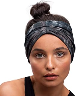 BLOM Original Tie Dye Headbands. Soft Eco Fabric for Fashion Or Workout. Wear Wide Turban Knotted or Many More Styles. Traditionally Dyed and Ethically Hand Made in Bali. (Stormy)
