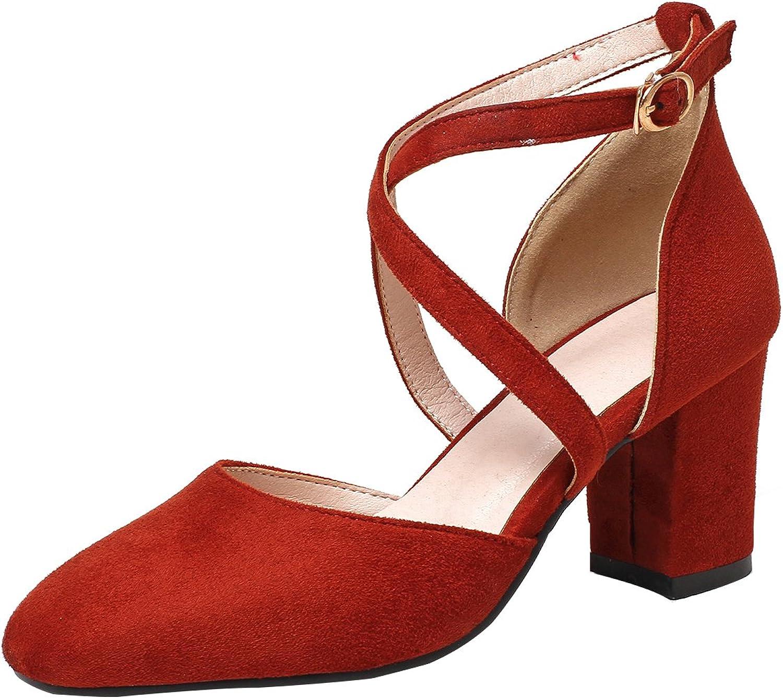Calaier Womens Salsi Closed-Toe 7CM Block Heel Buckle Sandals shoes