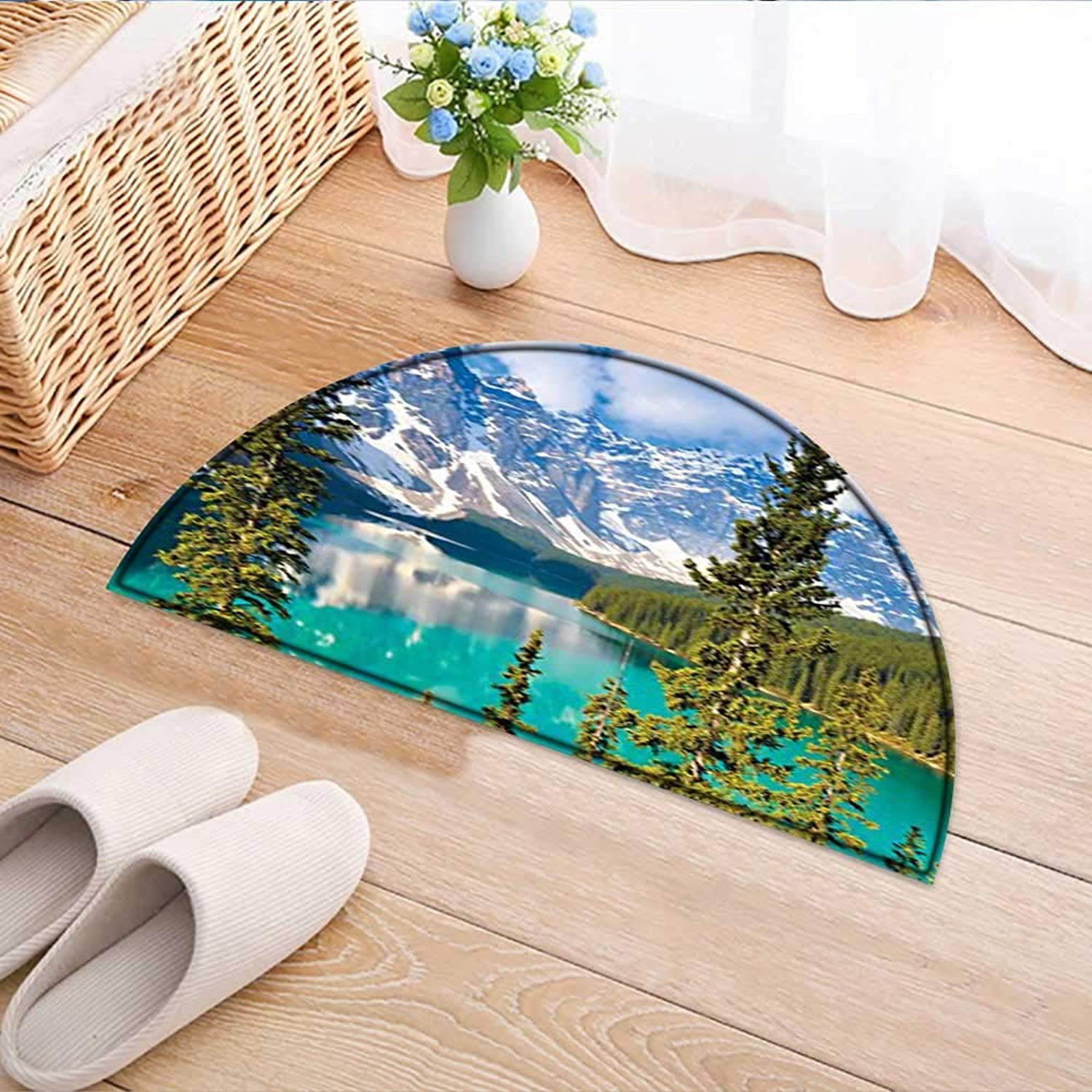 Semicircle Rug Kid Carpet Collection Sight of Moraine Lake Rocky Mountains and Summer Forest After Alive Tall Home Decor Foor Carpe W39 x H28 INCH
