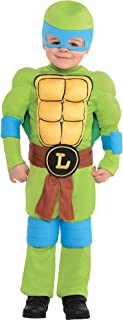 Amscan Teenage Mutant Ninja Turtles Leonardo Muscle Halloween Costume for Toddler Boys, 3-4T, with Included Accessories