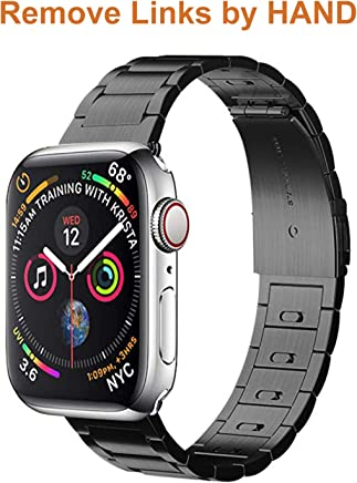 EloBeth For Apple Watch Band, Iwatch Band Apple Watch Stainless Steel Watch Band(Move Links By Hand) + Adapter For Apple Watch Series 3/Series 2/Series 1 (Stainless Steel-Black 42Mm)