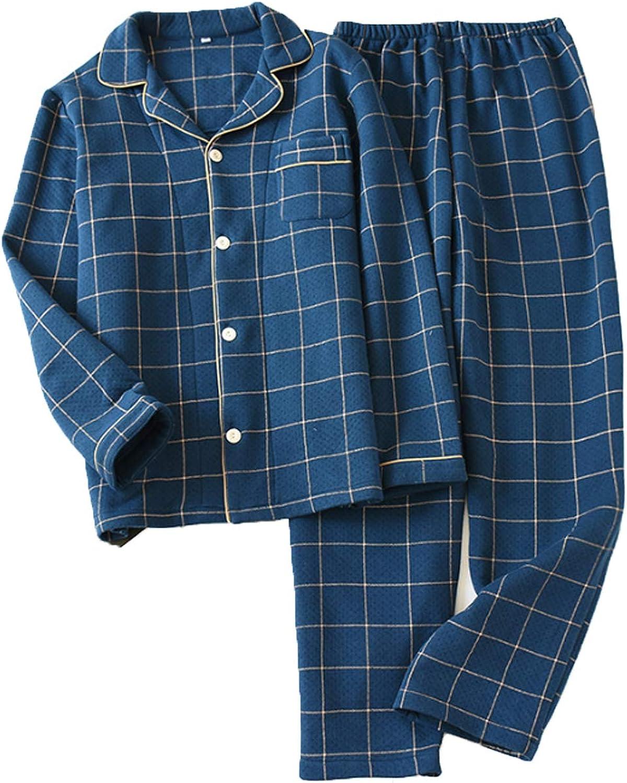 Men's Long Pajamas Set for Men 2pc Sleepwear blue M