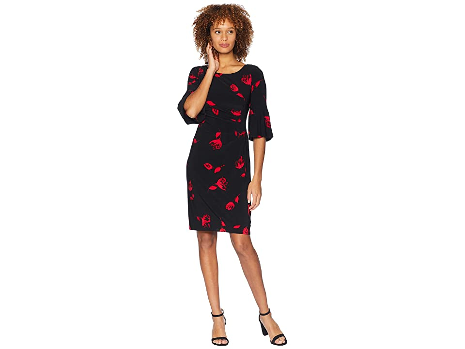 LAUREN Ralph Lauren Edzell Floral Matte Jersey Joelle 3/4 Sleeve Day Dress (Black/Red/Multi) Women