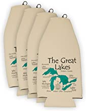 Davern Lake in ONTARIO, CN (1666 LA) - Bottle Cooler Set of 6 - Nautical chart and topographic depth map.