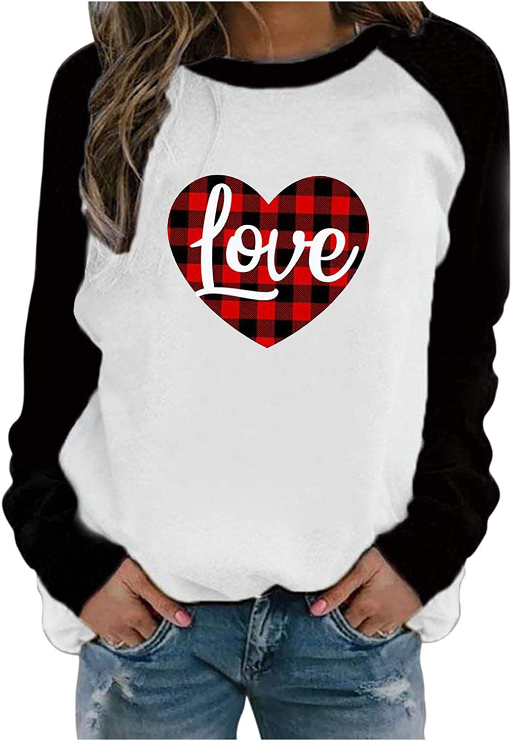 T Shirts for Women Womens Valentines Day Crewneck Heart Printed Raglan Long Sleeve Shirts Casual Blouse Baseball Tee