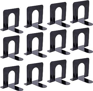 Fasmov Nonskid Steel Universal Economy Bookends, Black, 6 Pairs