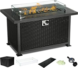 Yamadao CSA Gas Propane Patio Fire Pit Table Rectangular Outdoor Table with Fire Pit, Auto-Ignition Resin Wicker, w/Tempered Glass Cover & Desktop/Clear Fire Glass/Wind Guard/Oxford Cover, Black
