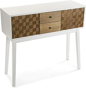 Versa 21080052 Tavolo d'ingresso Sinai a 4 cassetti, Legno di Pino della Nuova Zelanda, Bianco Laccato e Naturale, 80 x 30 x 90 cm