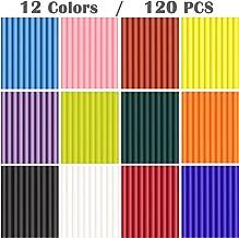 "120 Pack Mini Hot Glue Gun Sticks 4"" Long 0.27"" Dia, All-Purpose Dual Temp Hot Glue Gun Refills, 12 Colors"