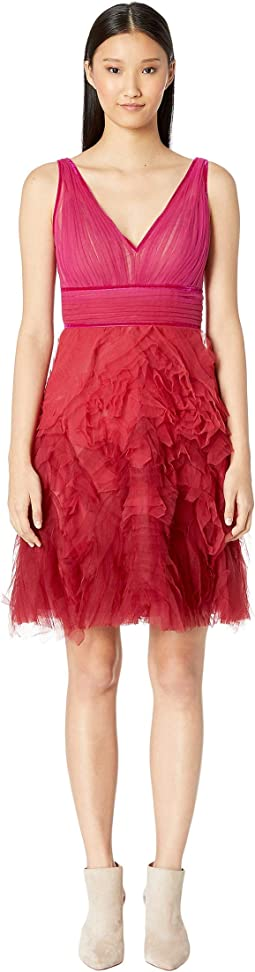 Sleeveless V-Neck Ombre Textured Cocktail Dress