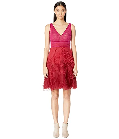 Marchesa Notte Sleeveless V-Neck Ombre Textured Cocktail Dress