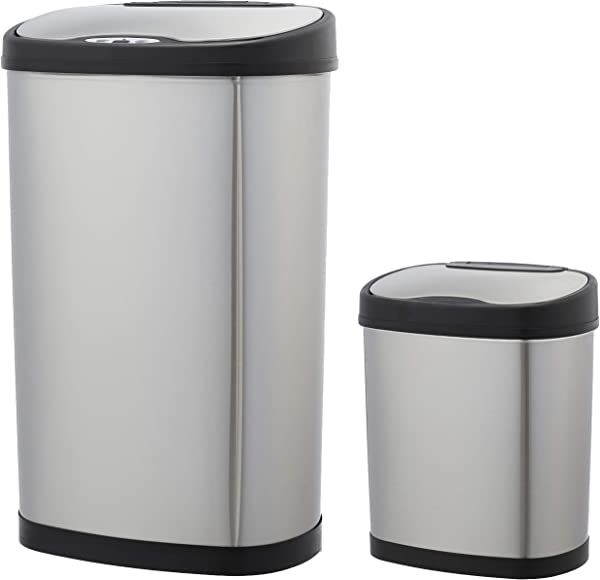 AmazonBasics Automatic Trash Can Set 12 Liter And 50 Liter Stainless Steel