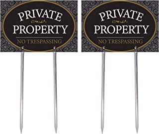 """Private Property - No Trespassing Sign Printed on Both Sides, 11.75"""" x 7.875"""" High-Intensity Grade Reflective Durable Alum..."""