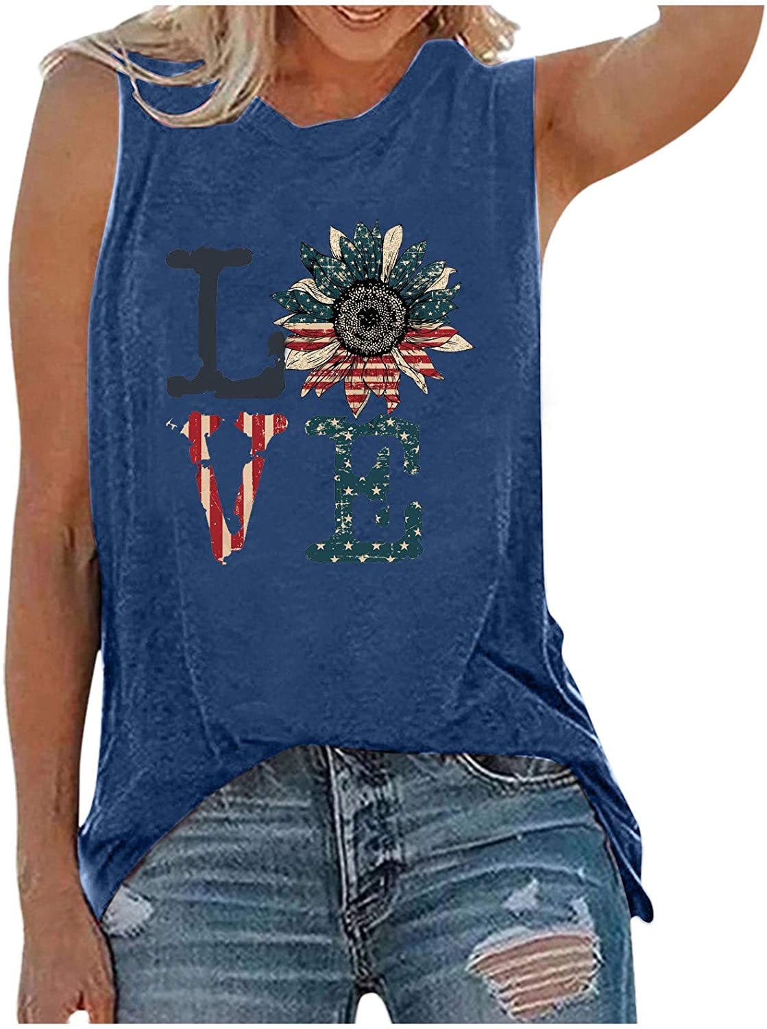Cute Tops for Women Sexy,USA Flag Printed Tank Tops Women Sleeveless Tee T-Shirt for Independence Day