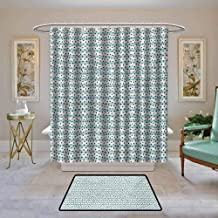 Kenneth Camilla01 Waterproof Shower Curtain Grey Blue,Pastel Colored Stripes with Dots Hand Drawn Geometric Pattern,Pale Blue and Charcoal Grey,Bathroom Curtains for Shower with Hooks Set 36