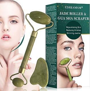 Jade Roller & Gua Sha Board for Face, Facial Jade Roller, Jade Facial Roller Massager Kit,Anti Aging Jade Stone Massager Set Real Natural Face,Eye and Neck Skincare Massage Tool