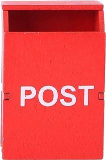 jojofuny ミニチュアメールボックスdiy1:12ドールハウス家具レターボックスフェアリーガーデンカントリーポストボックスフィギュアミニハウスアクセサリー子供用ふりプレイギフト赤