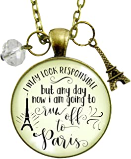 "Gutsy Goodness 24"" Paris Necklace I May France Themed Jewelry Quote Eiffel Tower Charm"