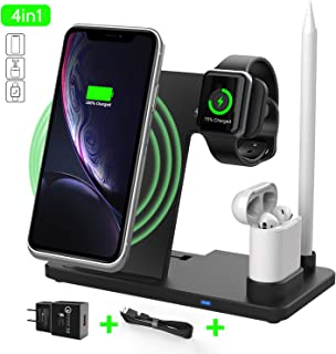 4-in-1 Wireless Charger Stand, HMYC 15W Wireless Fast Charging DockWireless Charger Stand for iwatch 4/3/2/1/ iPhone X/XS/XR/Xs Max/8/8 Plus, Free Adjustable Stand with QI Wireless Charging Station